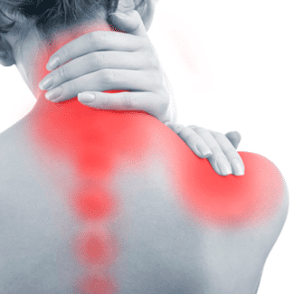woman holding neck and shoulder in pain